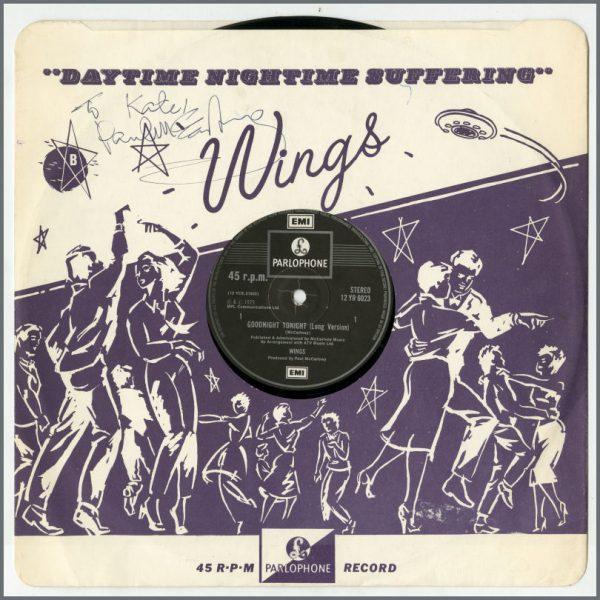 B26469 - Paul McCartney Signed Wings Goodnight Tonight 12 Inch Inner Sleeve (UK)