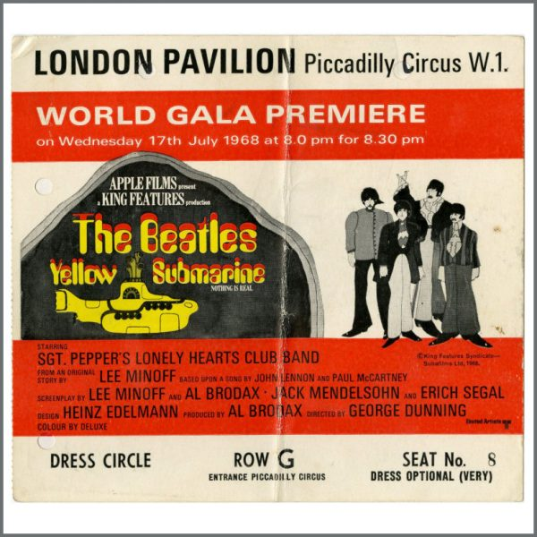 B26489 - The Beatles 1968 Yellow Submarine Premiere Ticket (UK)