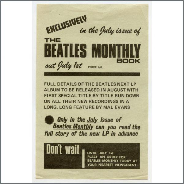 B26516 - The Beatles 1969 Beatles Monthly Book Promotional Handbill (UK)