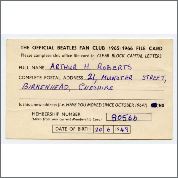 B26518 – The Beatles 1965/1966 Official Fan Club Membership File Card (UK) 1