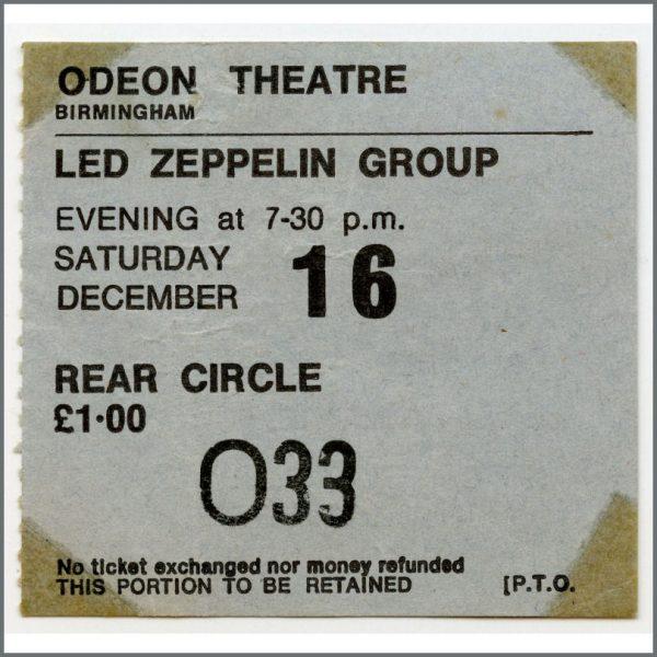 B26522 – Led Zeppelin 1972 Birmingham Odeon Concert Ticket Stub (UK) 1