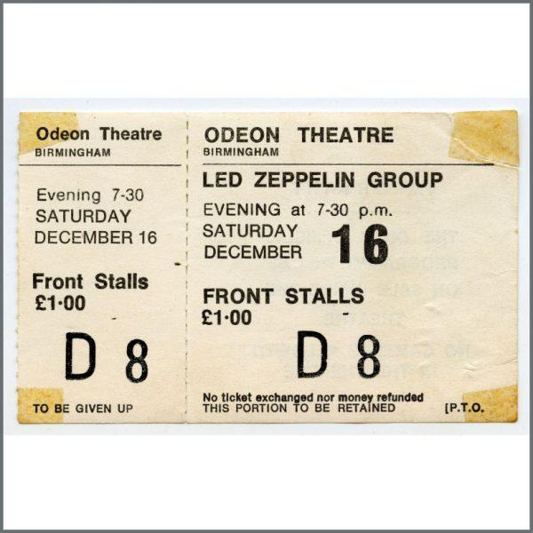 HIDDEN PAUL JAN 2018 B26523 – Led Zeppelin 1972 Birmingham Odeon Unused Concert Ticket (UK) 1
