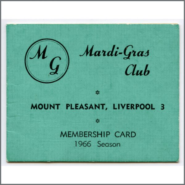 B26532 - Mardi Gras Club Liverpool 1966 Membership Card (UK)