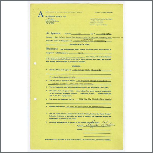 B26542 - Wayne Fontana 1963 Signed Cavern Club Performance Contract Bob Wooler Collection (UK)