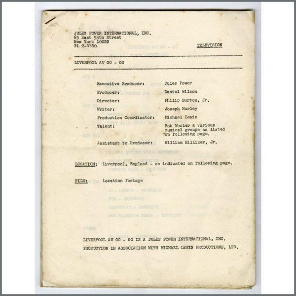 B26593 - Liverpool A Go-Go 1965 Script Bob Wooler Collection (USA)