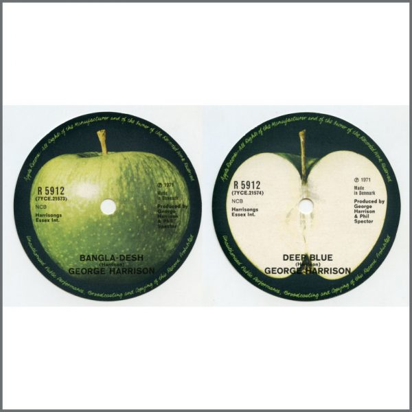 B26598 - George Harrison 1971 Bangla-Desh Unused Apple Single Labels (Denmark)