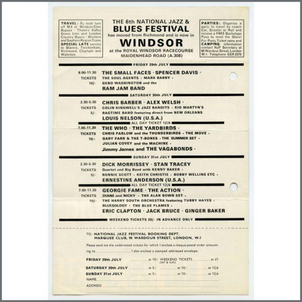 B26776 – The Who / Cream 1966 Marquee Club 6th National Jazz & Blues Festival Handbill (UK) 2