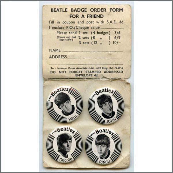 B26833 - The Beatles 1960s Pin Badges Set & Unused Order Form (UK)