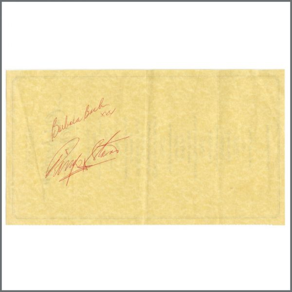 B26883 - Ringo Starr & Barbara Bach 1986 Autographed Menu (UK)