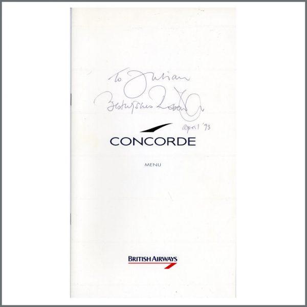 B26894 - Led Zeppelin Robert Plant 1993 Autographed British Airways Concorde Menu (USA)