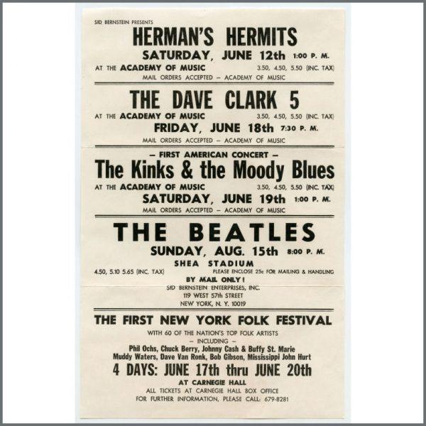 B26905 - The Beatles 1965 Shea Stadium New York Promotional Handbill (USA)