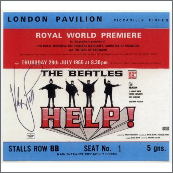 B26941 - Victor Spinetti Signed Reproduction Beatles Help! Premiere Ticket (UK)