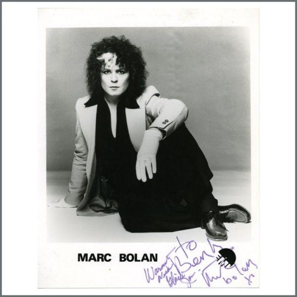 B26944 - Marc Bolan 1970s Autographed EMI Promotional Photograph (UK)
