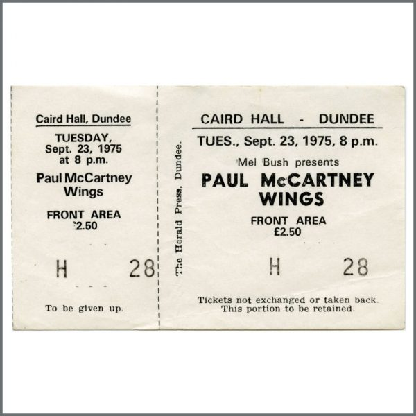 B27019 - Paul McCartney 1975 Wings Dundee Caird Hall Unused Concert Ticket (UK)