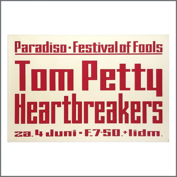 B27032 - Tom Petty & The Heartbreakers 1977 Paradiso Festival Of Fools Concert Poster (Netherlands)