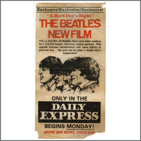 B27036 - The Beatles 1964 Daily Express Newspaper A Hard Day's Night Flyer (UK)