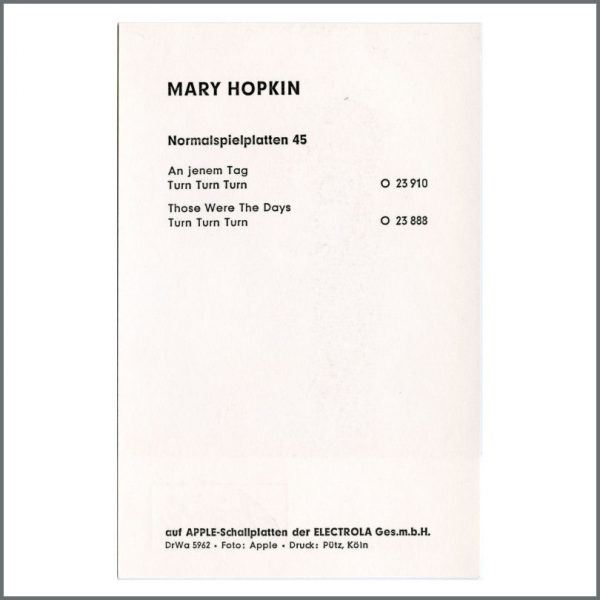 B27068 – Mary Hopkin 1968 Apple Records Those Were The Days Promotional Card (Germany) 2