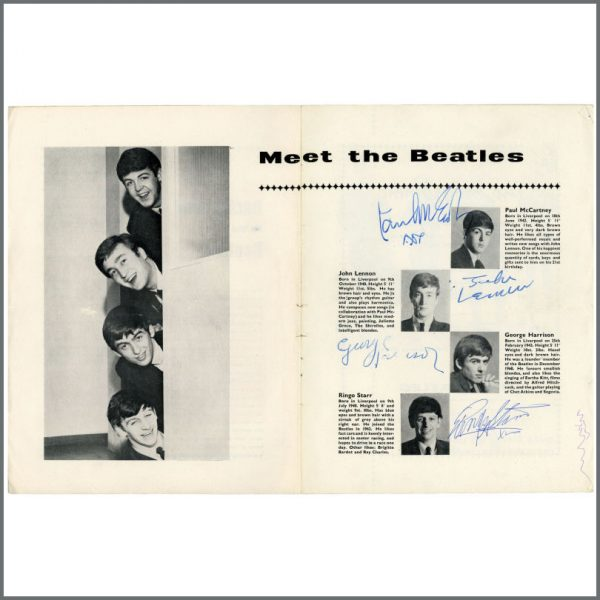 B27087 - The Beatles Autographed Weston-Super-Mare Concert Programme (UK)
