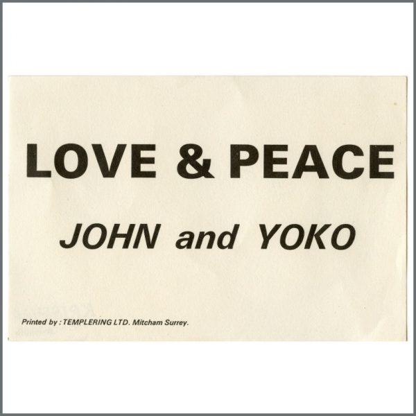 B27138 - John Lennon & Yoko Ono 1969 Love & Peace Flyer (UK)