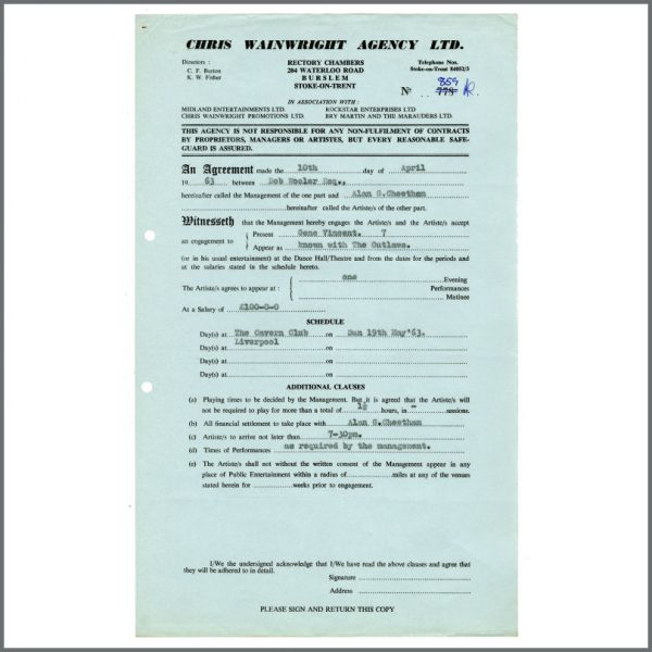 B27196 - Gene Vincent 1963 Cavern Club Liverpool Contract Copy Bob Wooler Collection (UK)