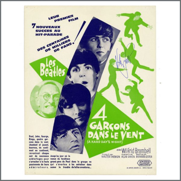 B27226 - The Beatles 1964 A Hard Day's Night Victor Spinetti Signed United Artists Promotional Leaflet (France)