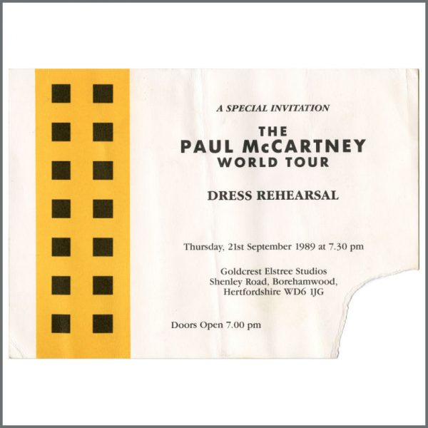 B27249 - Paul McCartney 1989 World Tour Dress Rehearsal Invitation (UK)