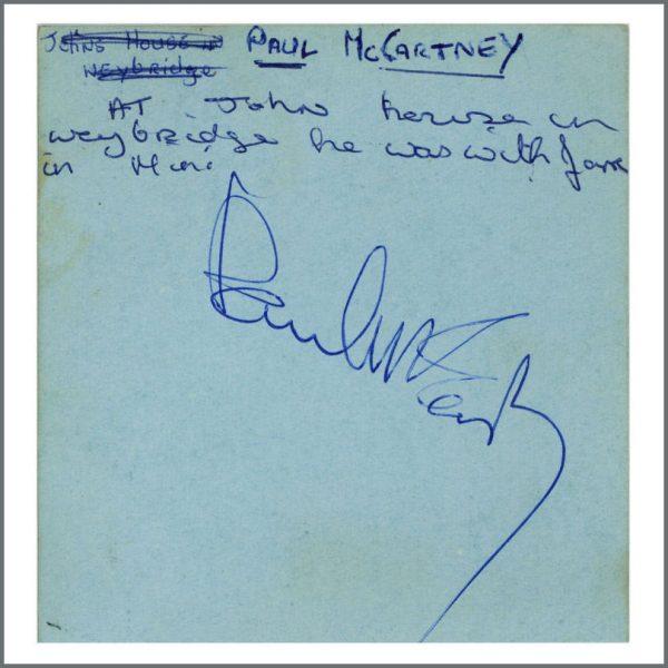B27260 - Paul McCartney 1965 Signed Autograph Book Page (UK)