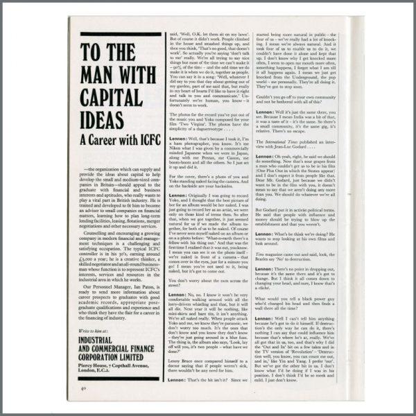 B27265 – John Lennon 1969 Student Magazine (UK) 3