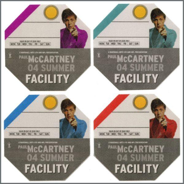 B27301 - Paul McCartney 2004 Summer Tour Unused Facility Passes (Europe)