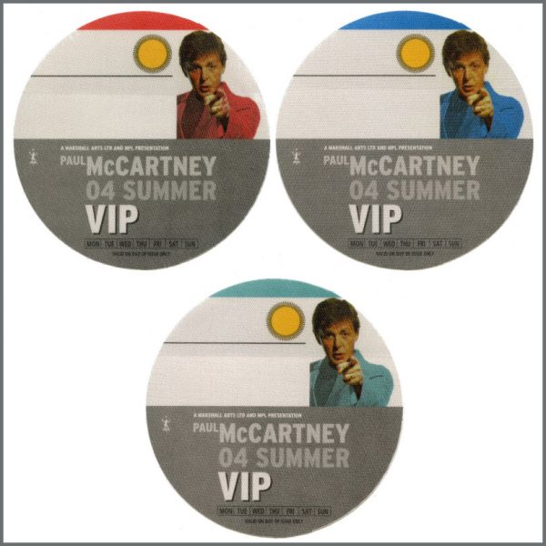 B27302 - Paul McCartney 2004 Summer Tour Unused VIP Passes (Europe)