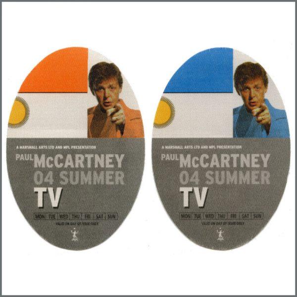 B27307 - Paul McCartney 2004 Summer Tour Unused TV Passes (Europe)