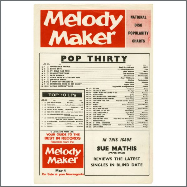 B27322 - The Beatles 1968 Melody Maker Pop Thirty Chart (UK)