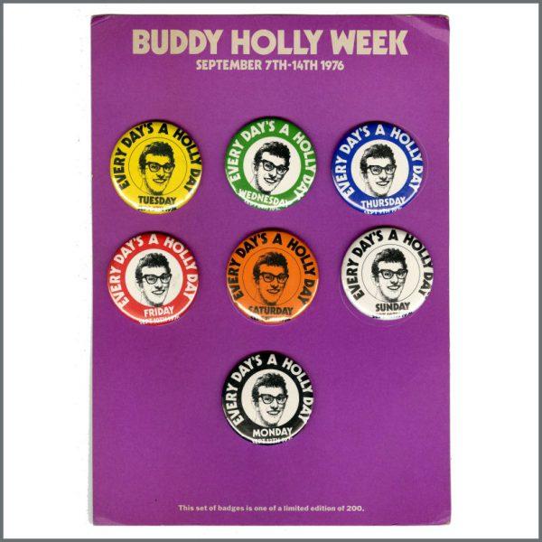 B27333 - Paul McCartney 1976 Buddy Holly Week Pin Badge Set & Stickers (UK)