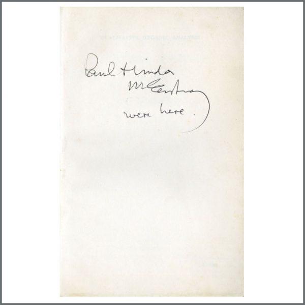 B27372 - Paul McCartney 1972 Autographed Qualitive Organic Analysis Book Wings University Tour (UK)