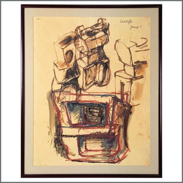 B27393 - Stuart Sutcliffe Liverpool College Of Art Signed Abstract Artwork (UK)