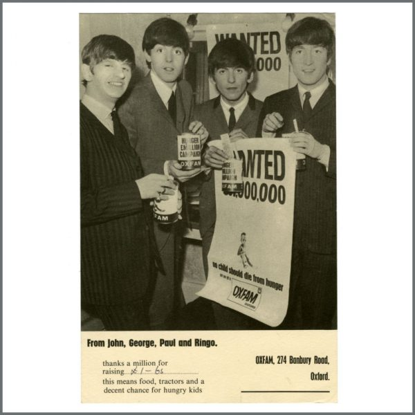 B27414 - The Beatles 1963 Oxfam Hunger £Million Campaign Promotional Card (UK)