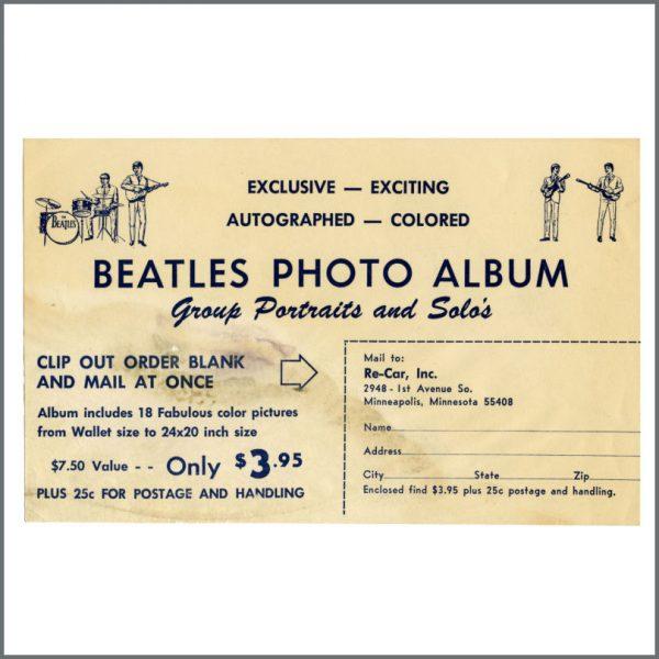 B27415 - The Beatles 1960s Photo Album Order Form (USA)