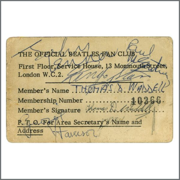 B27431 - The Beatles 1963 Kirkcaldy Autographed Fan Club Card (UK)