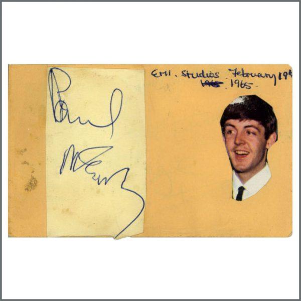 B27432 - Paul McCartney 1965 EMI Studios Autograph (UK)