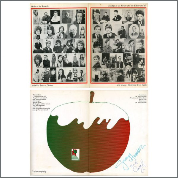 B27443 - The Beatles 1969 Apple Records Christmas Card (UK)