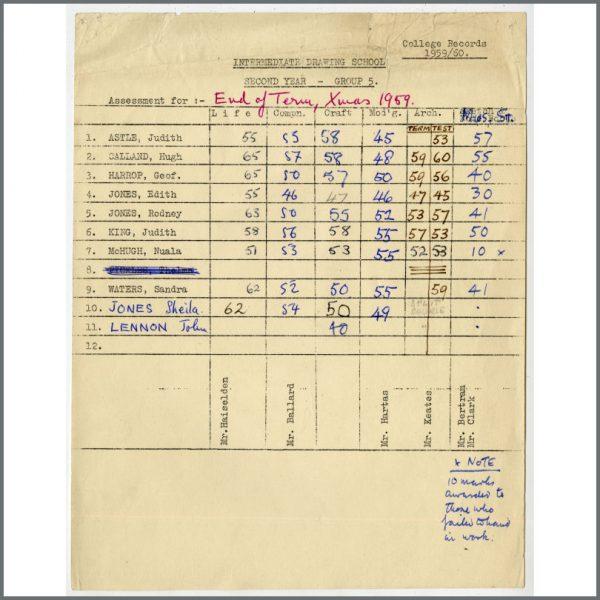 B27445 - John Lennon 1959 Liverpool College Of Art Examination Results Sheet (UK)
