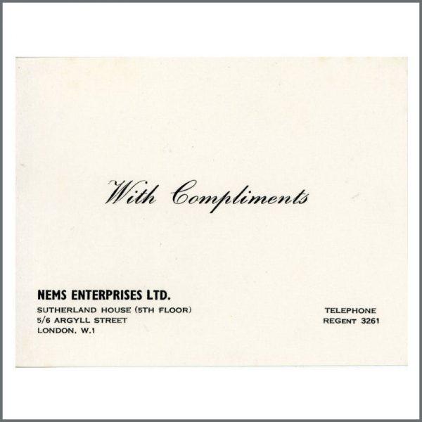 B27456 - The Beatles 1960s NEMS Enterprises London Compliments Slip (UK)