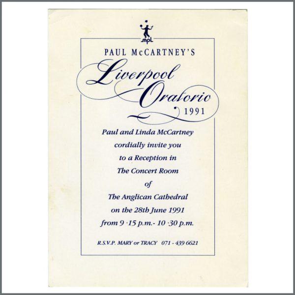 B27482 - Paul McCartney 1991 Liverpool Oratorio MPL Invitation (UK)