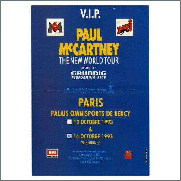 B27483 - Paul McCartney 1993 The New World Tour Paris VIP Invitation (France)