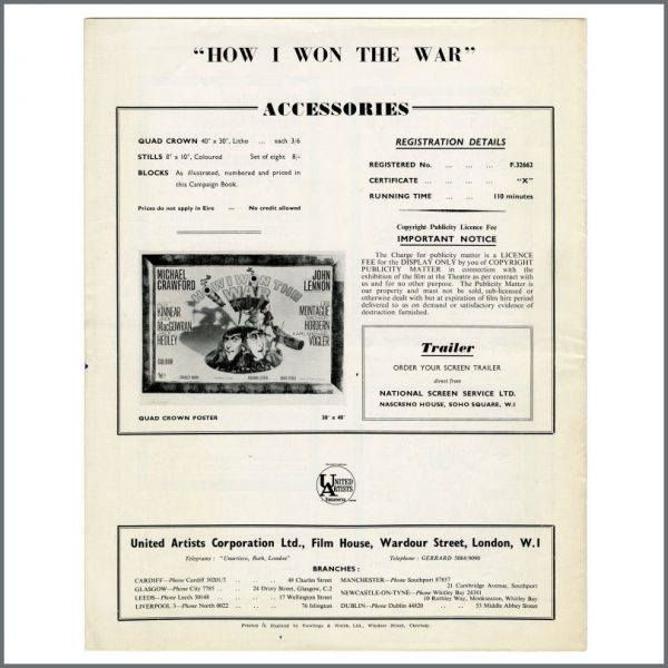 B27488 – John Lennon 1967 How I Won The War Exhibitor's Campaign Book (UK) 2