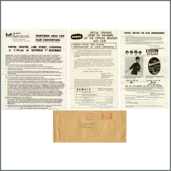 B27504 - The Beatles 1963 Fan Club Letters & Envelope (UK)