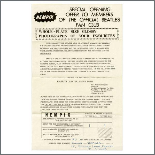 B27504 – The Beatles 1963 Fan Club Letters & Envelope (UK) 3