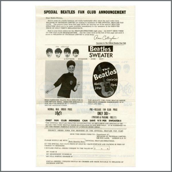 B27504 – The Beatles 1963 Fan Club Letters & Envelope (UK) 4