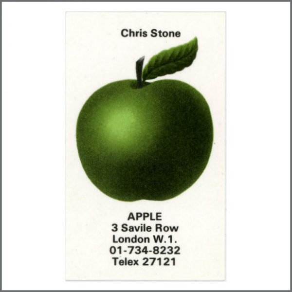 B27515 - The Beatles Chris Stone 1970s Apple Records Business Card (UK)