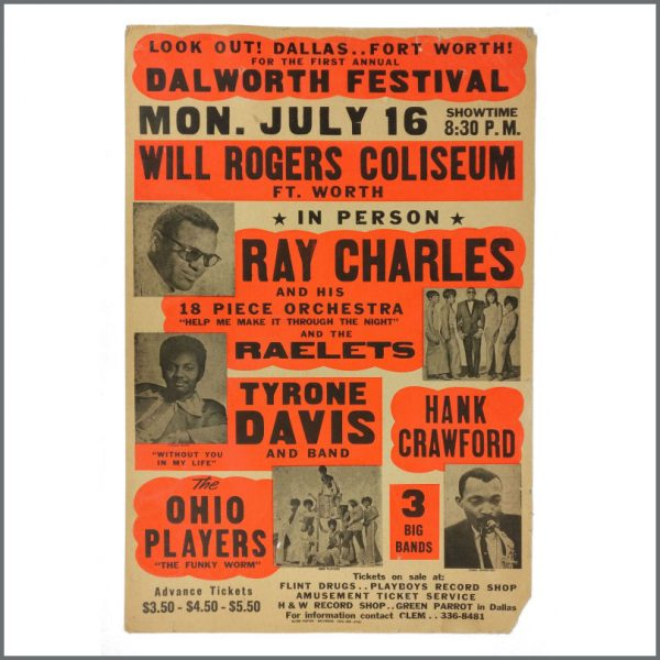 B27555 - Ray Charles 1973 Will Rogers Coliseum Fort Worth Concert Poster (USA)